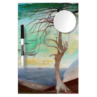 Tableau Effaçable À Sec Avec Mirroir Peinture de paysage isolée d'arbre de cèdre