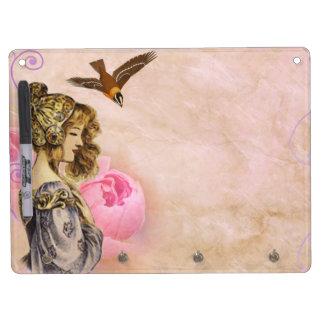 Tableau Effaçable À Sec Avec Porte-clés Image vintage de rose de rose de femme