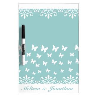 Tableau Effaçable À Sec Épouser blanc bleu-clair de papillons