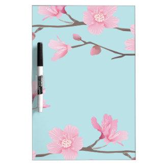 Tableau Effaçable À Sec Fleurs de cerisier - bleu de ciel