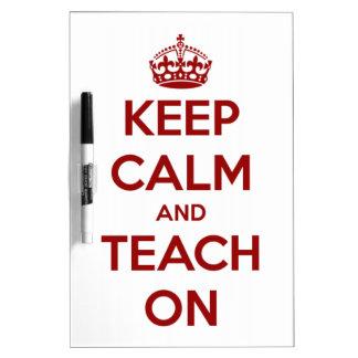 Tableau Effaçable À Sec Gardez le calme et l'enseignez sur rouge/blanc