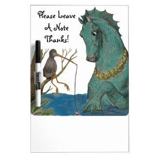 Tableau Effaçable À Sec Hippocampe et oiseau de pêche fantaisie