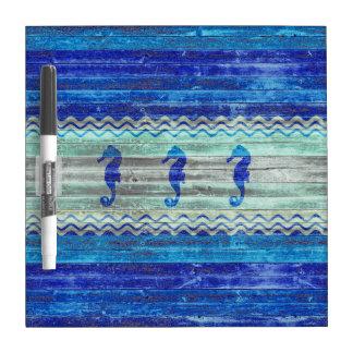 Tableau Effaçable À Sec Hippocampes côtiers rustiques de bleu marine