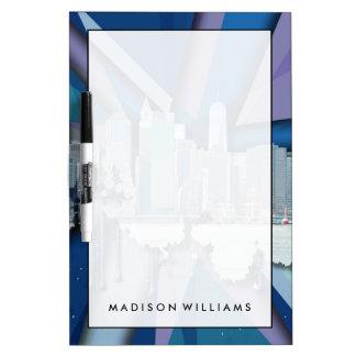 Tableau Effaçable À Sec Horizon   3D bleu de New York City