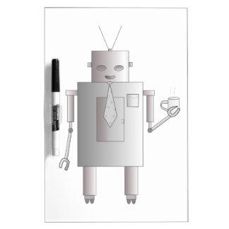 Tableau Effaçable À Sec Illustration potable de café de rétro robot
