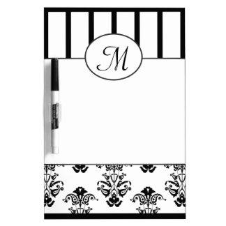 Tableau Effaçable À Sec Le baroque noir et blanc avec le monogramme