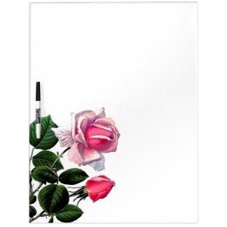 Tableau Effaçable À Sec Le rose de thé botanique fleurit la table des