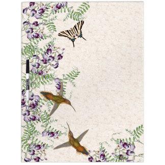 Tableau Effaçable À Sec Les colibris de fleurs de papillon sèchent le
