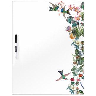 Tableau Effaçable À Sec Les fleurs tropicales d'oiseaux de colibri sèchent