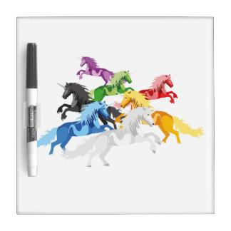 Tableau Effaçable À Sec Licornes sauvages colorées d'illustration