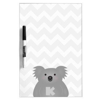 Tableau Effaçable À Sec Monogramme mignon d'ours de koala de bébé de