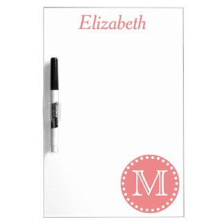 Tableau Effaçable À Sec Monogramme rose et blanc de corail de point de