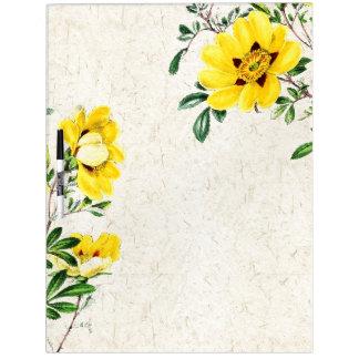 Tableau Effaçable À Sec Panneau floral de thé de fleurs botaniques de
