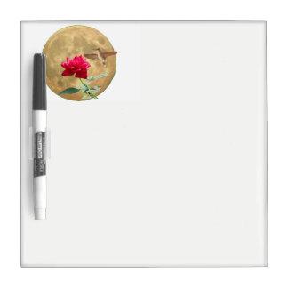 Tableau Effaçable À Sec Pleine lune, rose rouge de pleine floraison avec