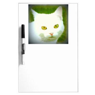 Tableau Effaçable À Sec regarder blanc de chat
