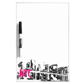 Tableau Effaçable À Sec Rose, blanc, noir, horizon de New York
