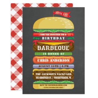 Tableau empilé de BBQ d'anniversaire d'hamburger Carton D'invitation 12,7 Cm X 17,78 Cm