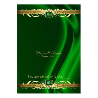 Tableau en soie vert Placecard de rouleau d'or de Carte De Visite Grand Format