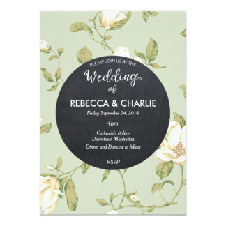 Tableau floral bleu-clair de faire-part de mariage
