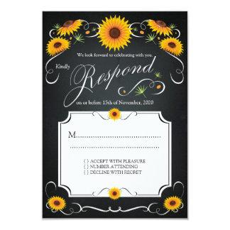 Tableau floral RSVP l'épousant vintage de Carton D'invitation 8,89 Cm X 12,70 Cm