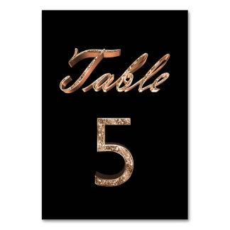 Tableau noir chic élégant numéro 5 de partie d'or carte