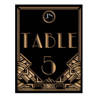 Tableau noir numéro 5 de style de Gatsby d'art déc Cartes Postales