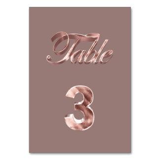 Tableau rose chic élégant numéro 3 d'invités de carte