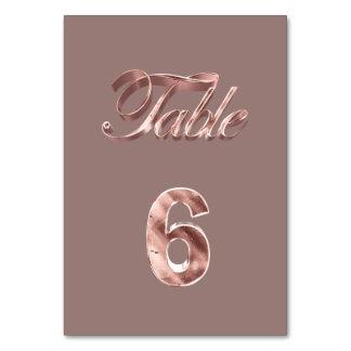 Tableau rose chic élégant numéro 6 d'invités de carte