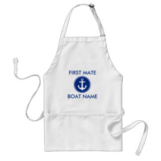 Tablier bleu nautique de nom de bateau de premier