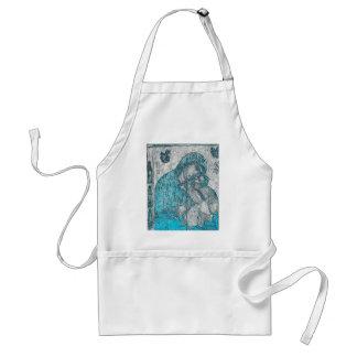 Tablier Bleu vintage de portrait d'ange de Jésus de bébé