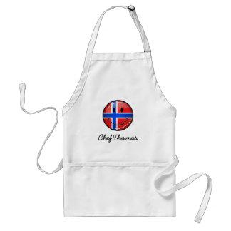 Tablier Drapeau norvégien de sourire de rond brillant