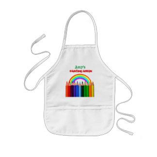 Tablier Enfant Arc-en-ciel et artiste de crayons de couleur