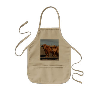Tablier Enfant Big_Brown_Highland_Cows, _Kids_Khaki_Kindy_Apron.