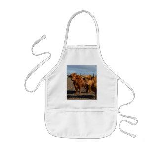 Tablier Enfant Grandes vaches des montagnes à Brown,