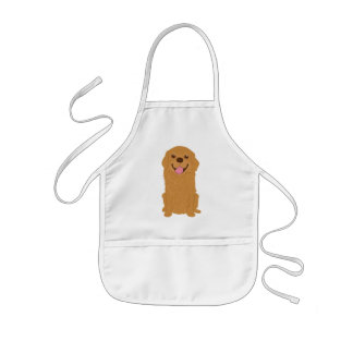 Tablier Enfant Illustration heureuse de golden retriever