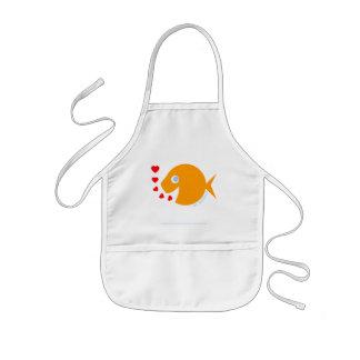 Tablier Enfant L'artiste heureux d'enfant de poisson rouge de