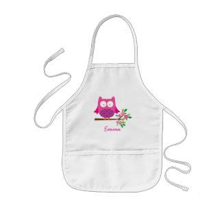 Tablier Enfant Le hibou mignon rose personnalisé badine le
