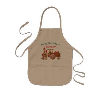 Tablier Enfant Locomotive à vapeur de pain d'épice de Noël