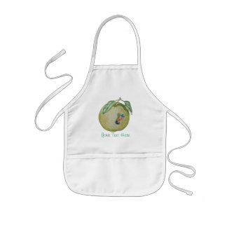Tablier Enfant Pomme verte avec la larve drôle dans