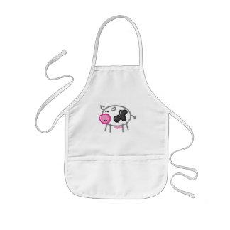 Tablier Enfant Vache à amusement sur le blanc
