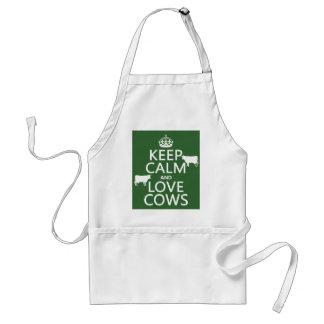 Tablier Gardez le calme et aimez les vaches (toutes les