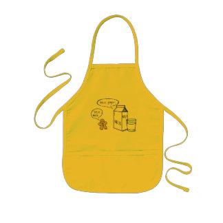 Tablier jaune d'enfants originaux de lait et de