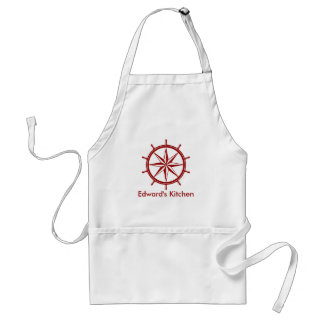 Tablier La roue du bateau rouge nautique personnalisée