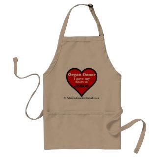 """Tablier Le """"donateur d'organe"""" a donné mon coeur à Jésus"""