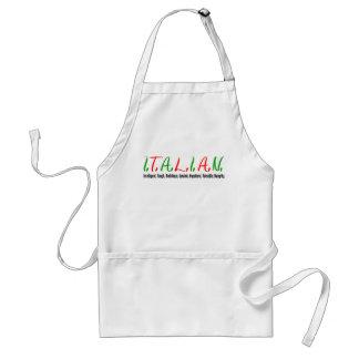 Tablier L'Italien marque avec des lettres des qualités de