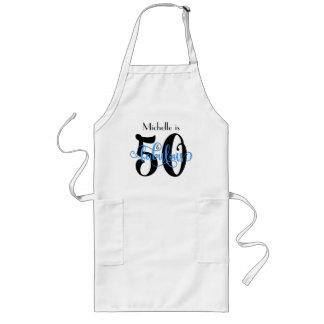Tablier Long 50 et anniversaire noir et bleu fabuleux de