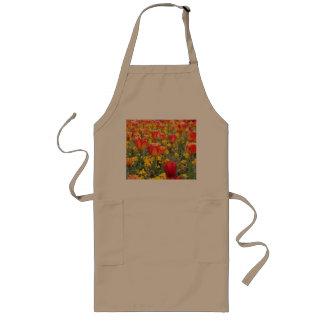 Tablier Long Tulipes, jaune lumineux et coloré et rouge