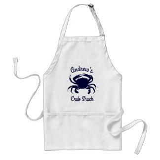 Tablier Silhouette bleu-foncé personnalisée de crabe
