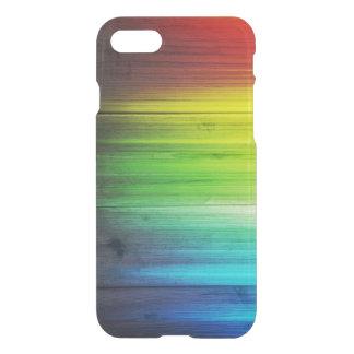 Tache en bois colorée par arc-en-ciel coque iPhone 7
