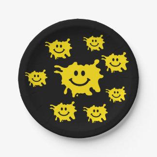 tache jaune drôle de sourire assiettes en papier